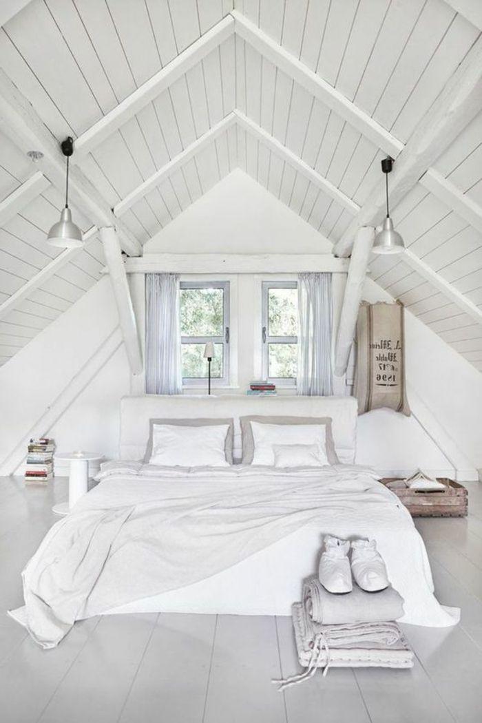 1001 id es d co de chambre sous pente cocoon linge de lit blanc chambre mansard e et lit blanc. Black Bedroom Furniture Sets. Home Design Ideas