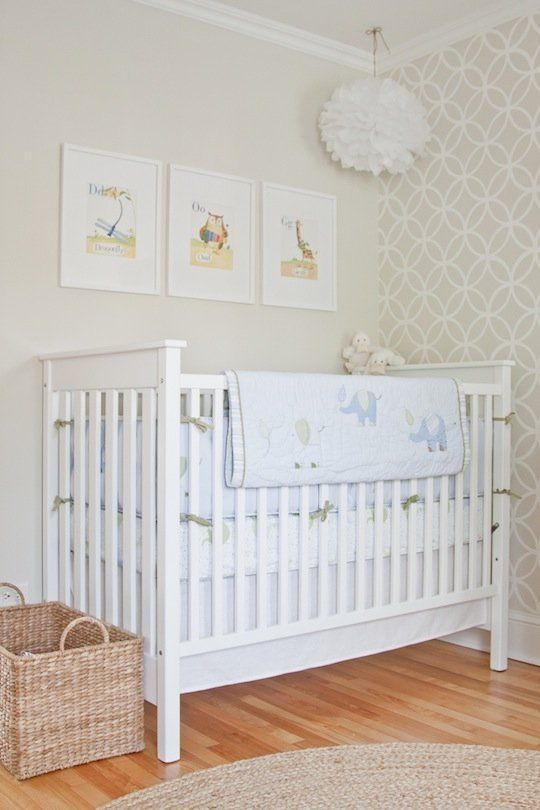 Beautiful Neutral Nursery From Apartmenttherapy Benjamin Moore Wall Color Old Prairie Trim Stencil Simply White Love The Instead Of