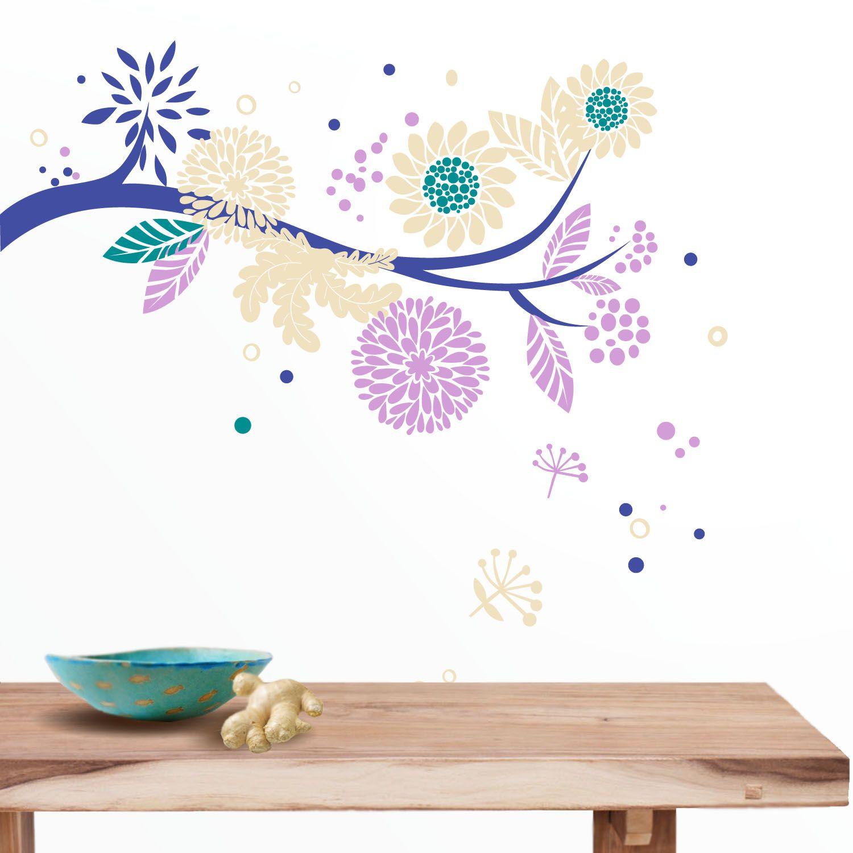 Vinilo decorativo de pared rama de rbol repleta de flores - Vinilos de arboles ...