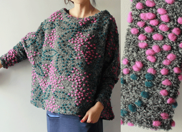 On a boucle background sweater, either purchased or handknit thread ...