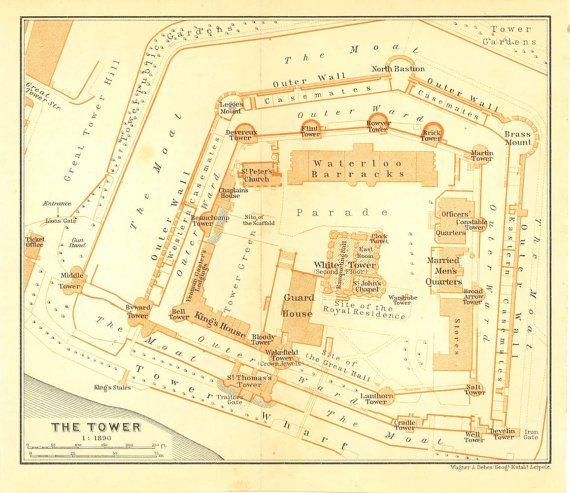 1907 Tower of London Floor Plan, Original Antique Print, Baedeker ...