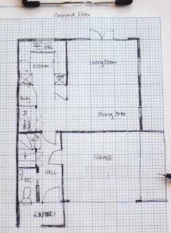 Site survey Sketch with walls and room names Design info