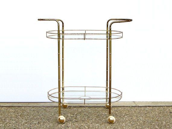 Faux Bamboo Gold Bar Cart Hollywood Regency Vintage