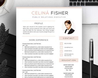 Page Resume  Cv Template Cover Letter For By Theresumeboutique
