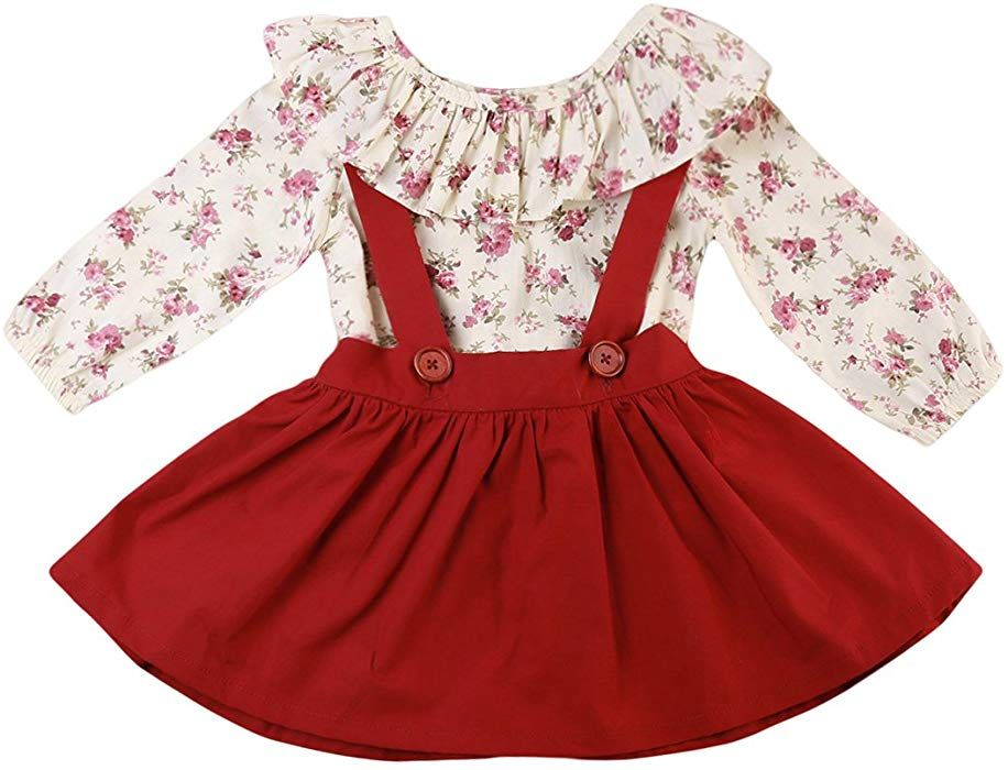 UK Seller 2PCS Toddler Kid Girl Floral Long Sleeve Top+Skirt Sets 1-6T