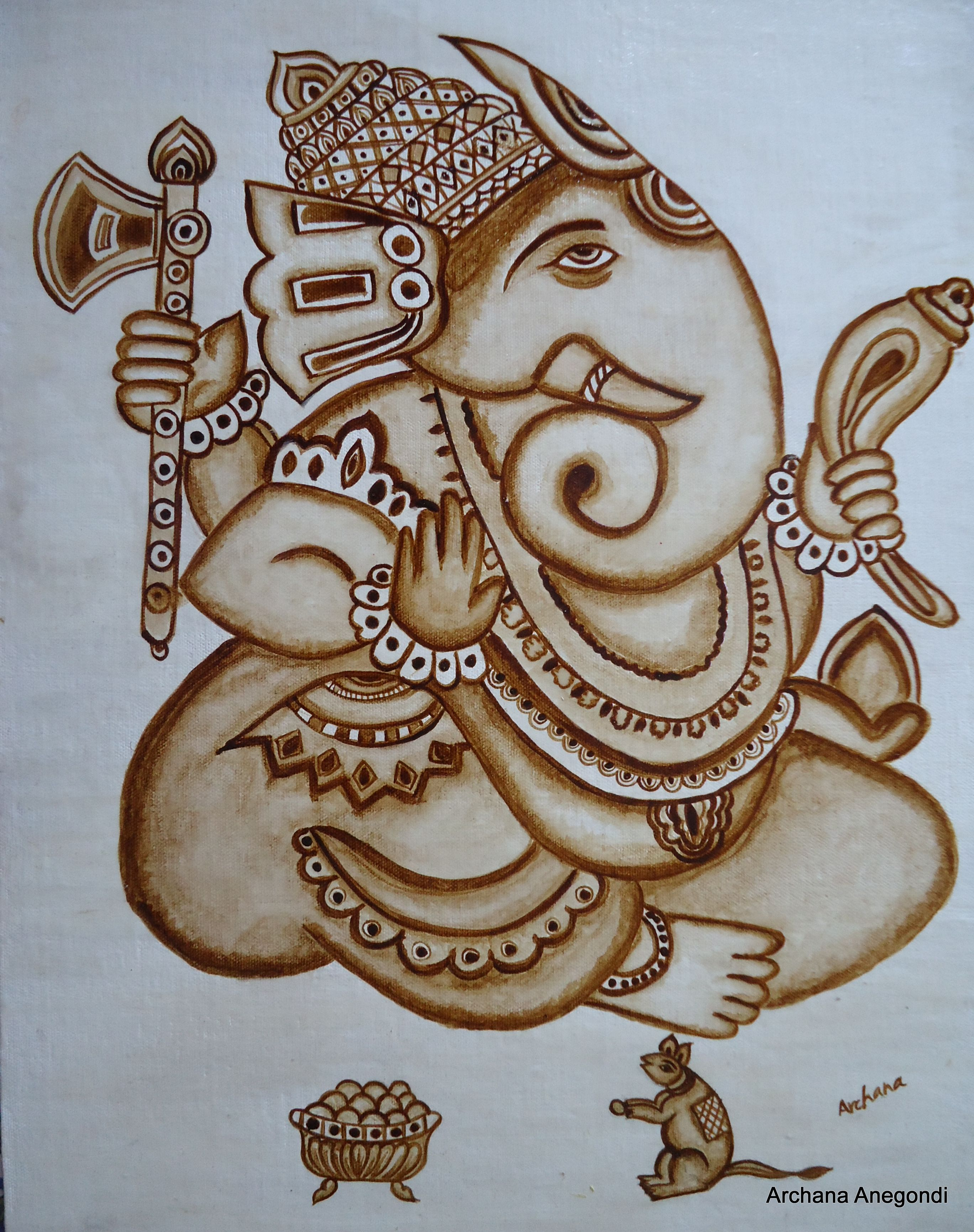 Ganesha coffee art by archana art pinterest coffee for Mural art of ganesha
