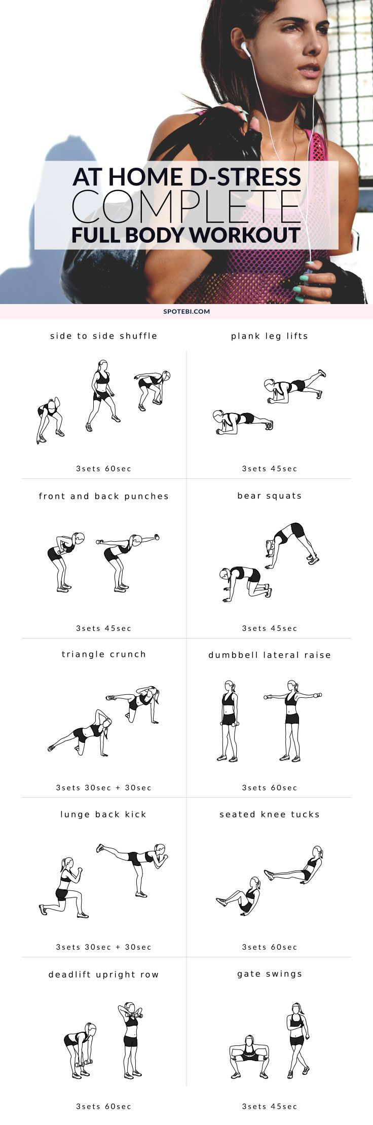 An at home full body workout to help d-stress.
