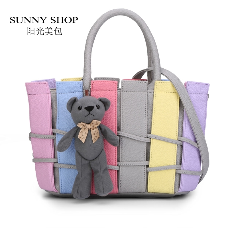 28.03$  Buy here - http://airf5.worlditems.win/all/product.php?id=32564987312 - SUNNY SHOP Colorful Candy Color Shoulder Bag With Bear Toy Fashion Striped Women Bag  Cute Girls Messenger Bag Rainbow color Bag