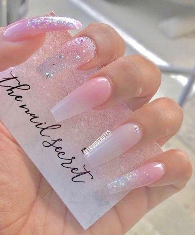 31 Clear Pink Acrylic Nails With Rhinestone Details Pink Glitter Nails Cute Acrylic Nails Nail Designs