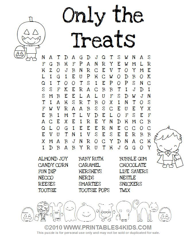 Halloween Treats Word Search Printables for Kids free word – Fun Halloween Worksheets