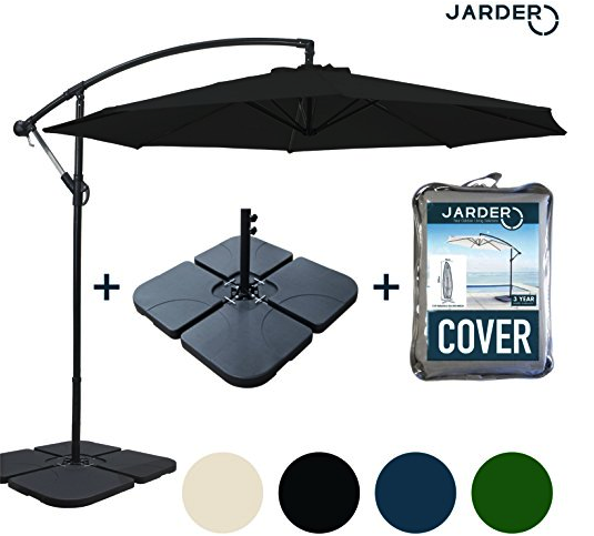 3ad75dbe98a9 Jarder Deluxe Huge 3m Cantilever Parasol with Base and also Cover Bundle!