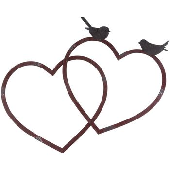 Red Metal Heart Wall Decor with Brown Birds | Rustic Master ...