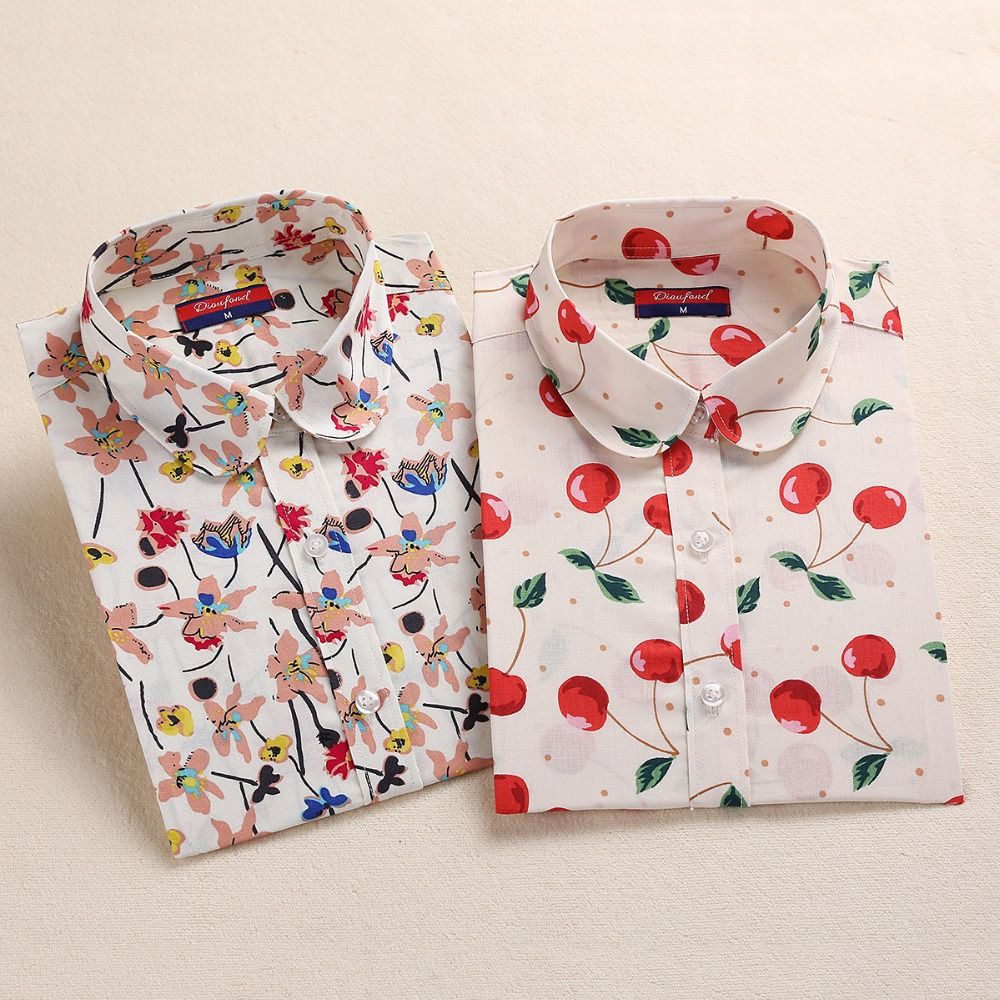 f63176056 New Cotton Women Vintage Shirts Turn Down Collar Shirt Blusas Femininas 5XL  Plus Size Long Sleeve Blouses Floral Women Tops 2016