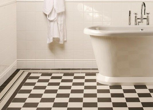 Octagon tile black white floor pattern tile inspiration for Bathroom design cambridge