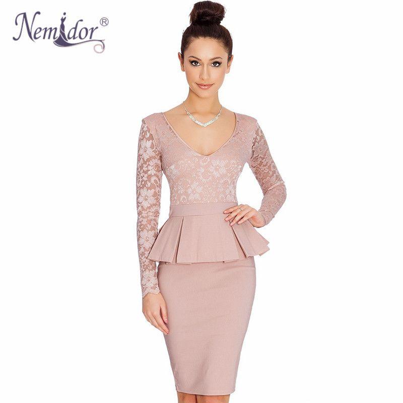 Nemidor Women Long Sleeve Bodycon Office Business Work Dress Ruffles ...