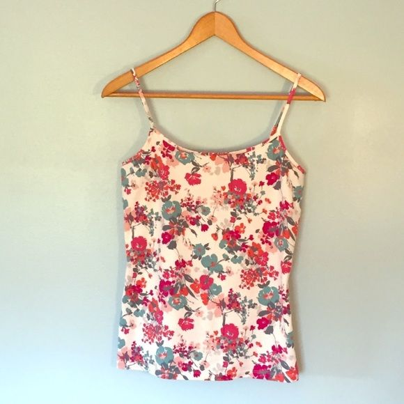 SALE Gorgeous LOFT Cami Beautiful off white LOFT cami with pink, orange and teal floral pattern! Great under a cardigan! Only worn a couple of times. LOFT Tops Camisoles