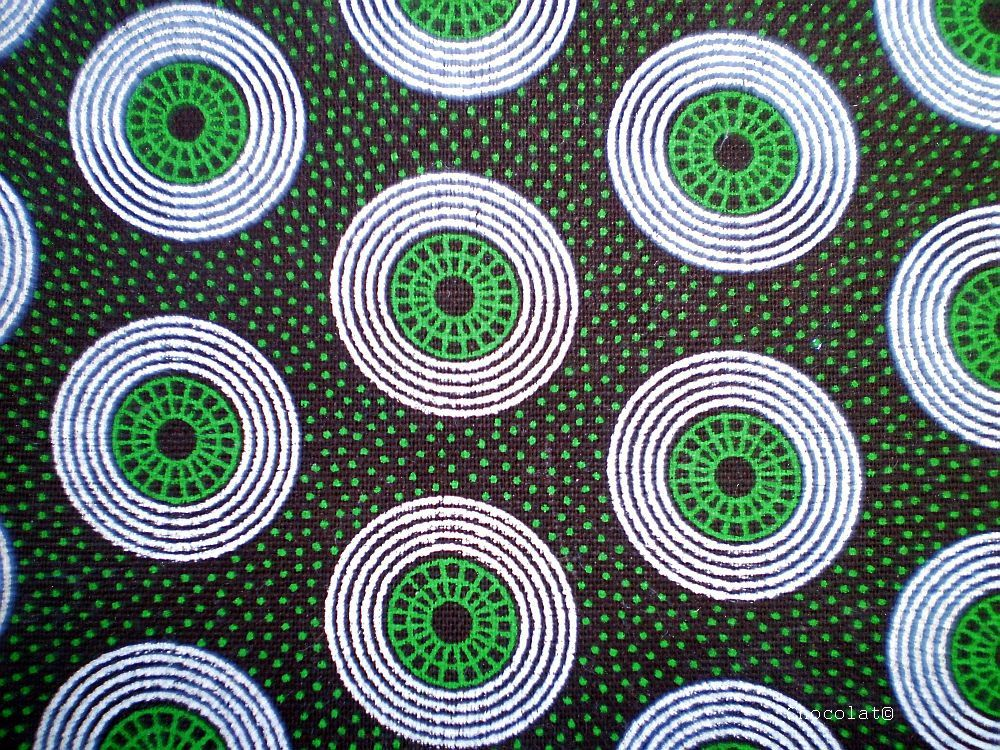 Green Retro Circle Original South African Shweshwe