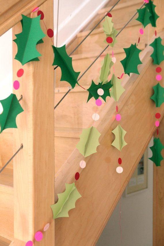 2015 Diy Paper Christmas Holly Garland With Polka Dots Wall Decoration Paper Garland Crafts Diy Christmas Garland Christmas Diy Christmas Decorations