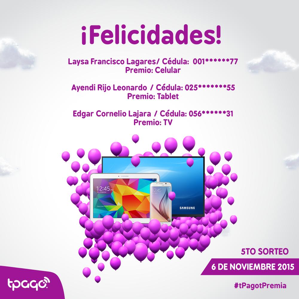 Felicidades a Laysa Francisco Lagare, Ayendi Rijo Leonardo y Edgar Cornelio Lajara clientes del Banco Popular Dominicano! Usaron #tPago y ganaron premios #tPagotPremia