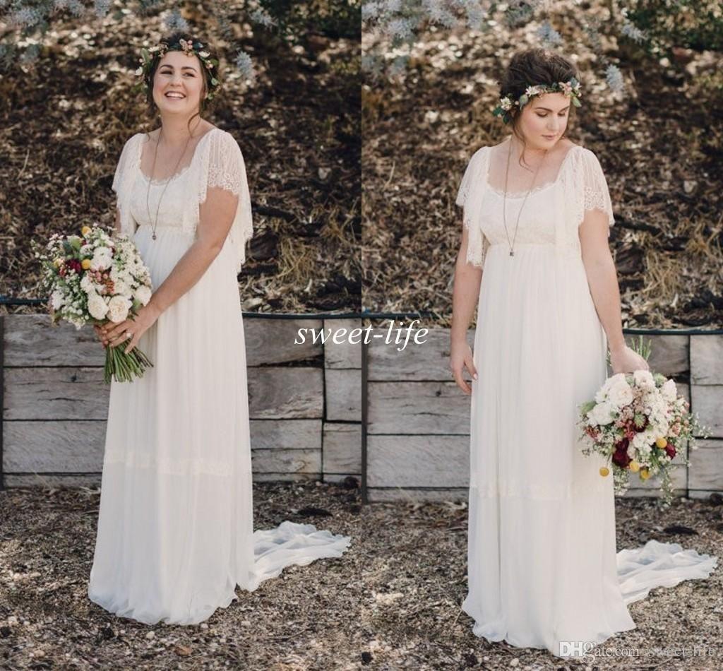 2015 ivory bohemian wedding dresses plus size maternity for Inexpensive maternity wedding dresses
