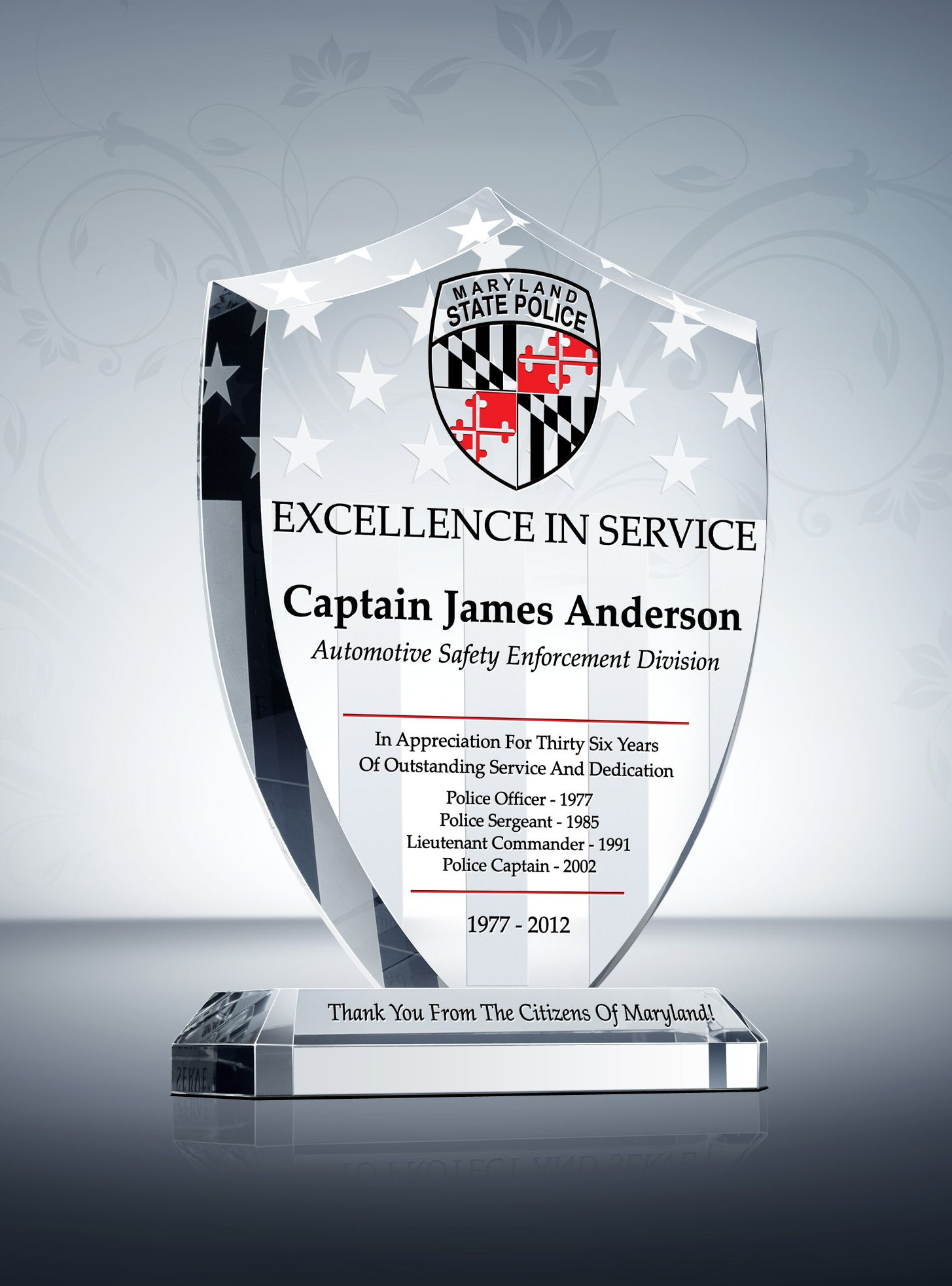 Unique Police Recognition Plaques And Sample Wordings Recognition Plaques Award Template Plaque