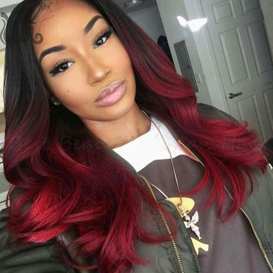 two tone#1b/red ombre full lace wig bob style lace front wigs