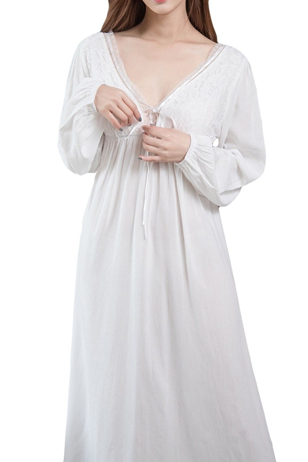 Women s Long Sleeve Vintage Lace V Neck Nightgown Cotton Sleepwear - White  - CF187YZWXNI d375f3747
