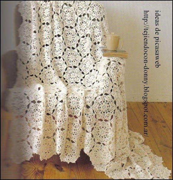 Crochet ganchillo patrones graficos colchas o - Aplicaciones de ganchillo para colchas ...