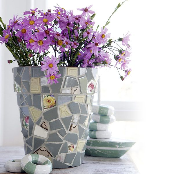 DIY~ Mosaic Plant Pot Holder