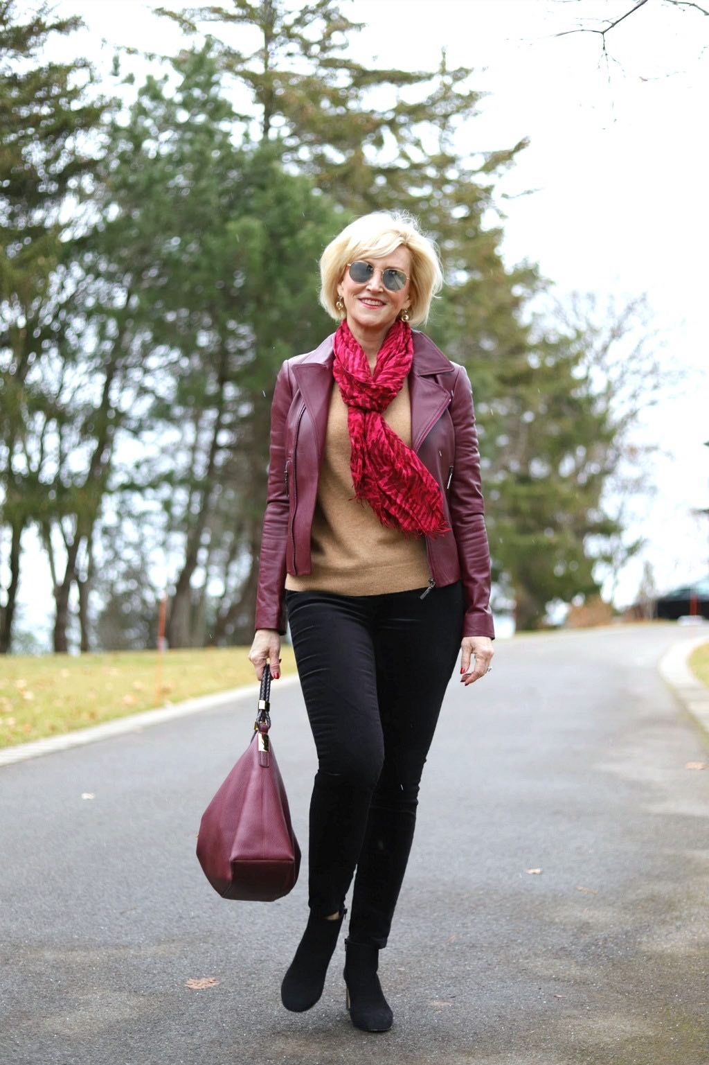 What to Wear With A Burgundy Leather Jacket Over 60