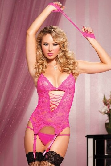 bedafde732a Pink Midnight Affair Cami Garter Handcuffs Thong Set