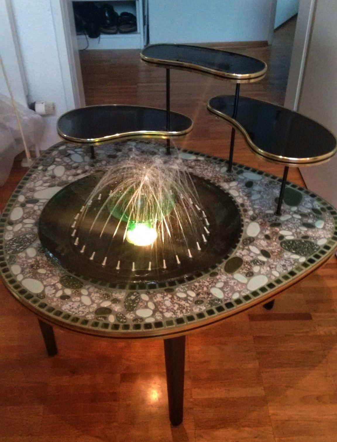 Atomic Era Coffee Table Lighted Fountain.