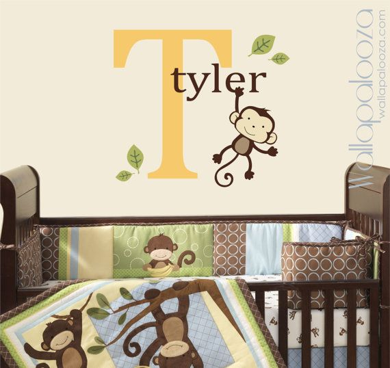Custom Monkey Wall Decal Kids Room Nursery By WallapaloozaDecals, $32.00
