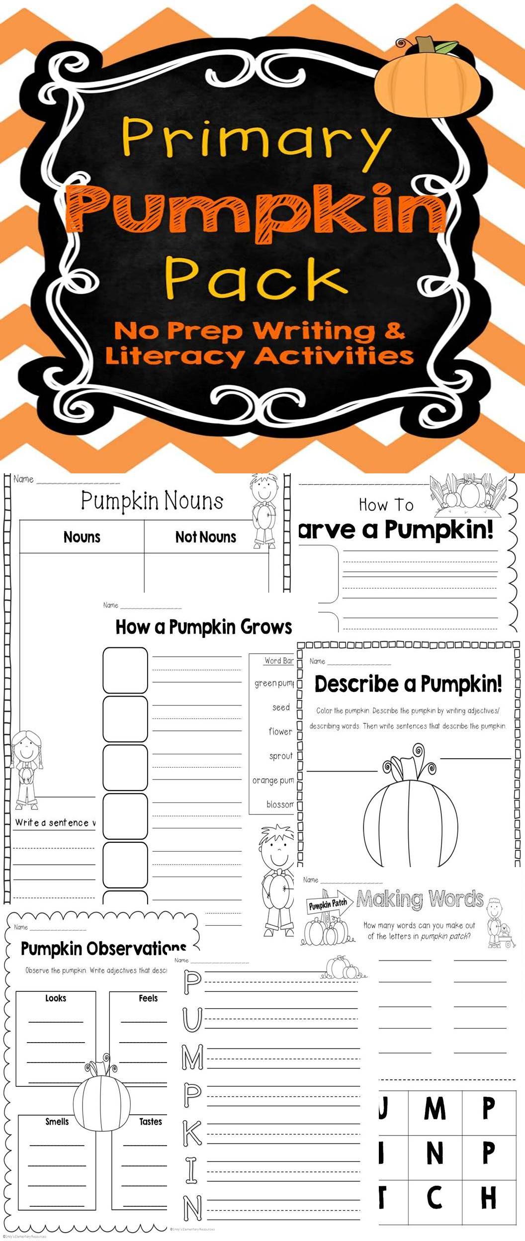 Primary Pumpkin Pack No Prep Writing Amp Literacy