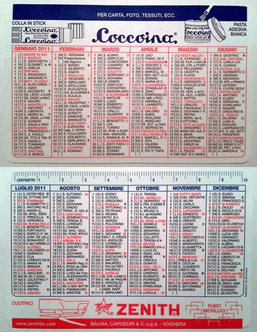 Calendarietto pubblicitario 2011 - Coccoina