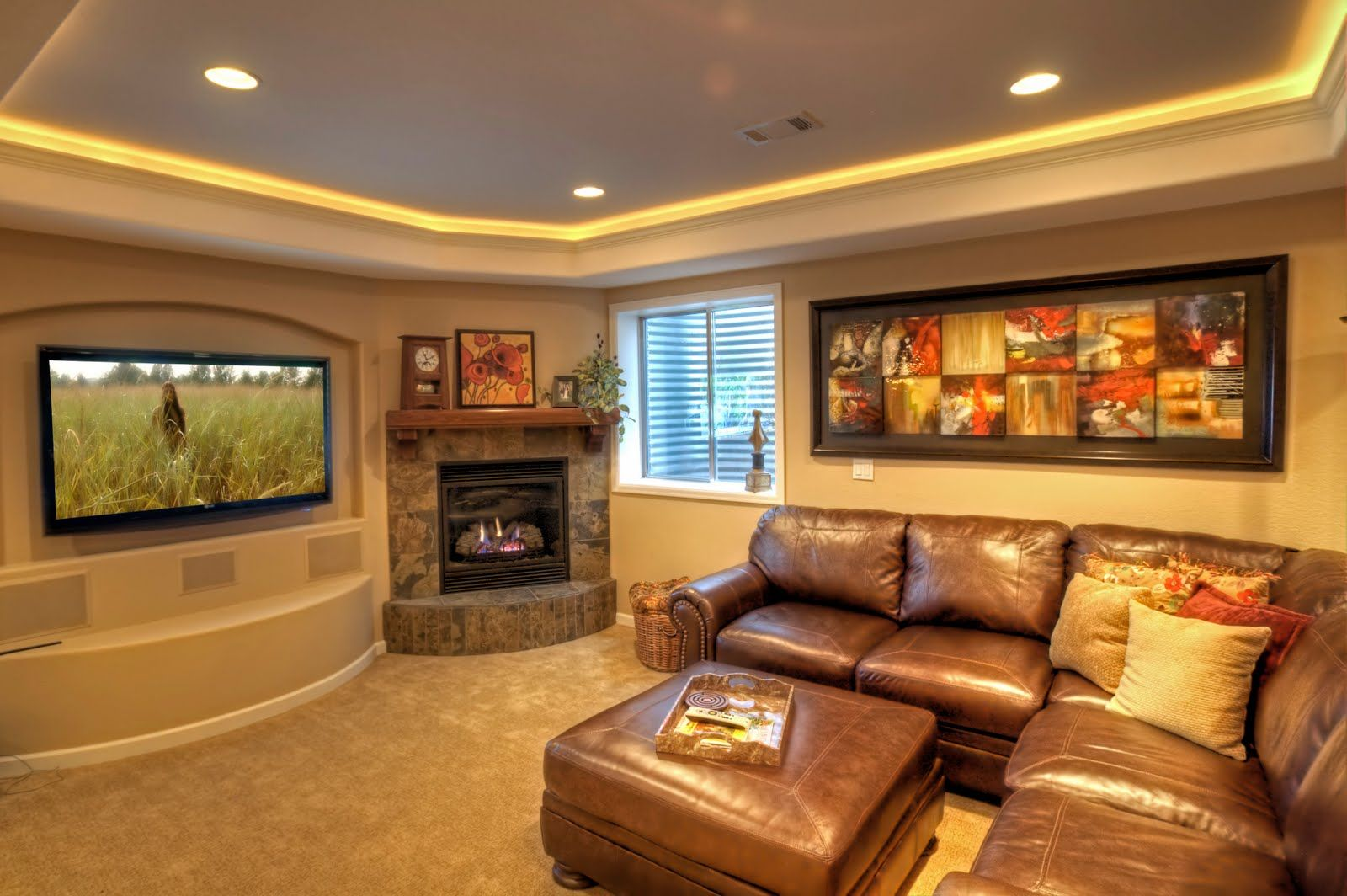 Tray ceiling, ledge light with bullnose edge For the basement ...