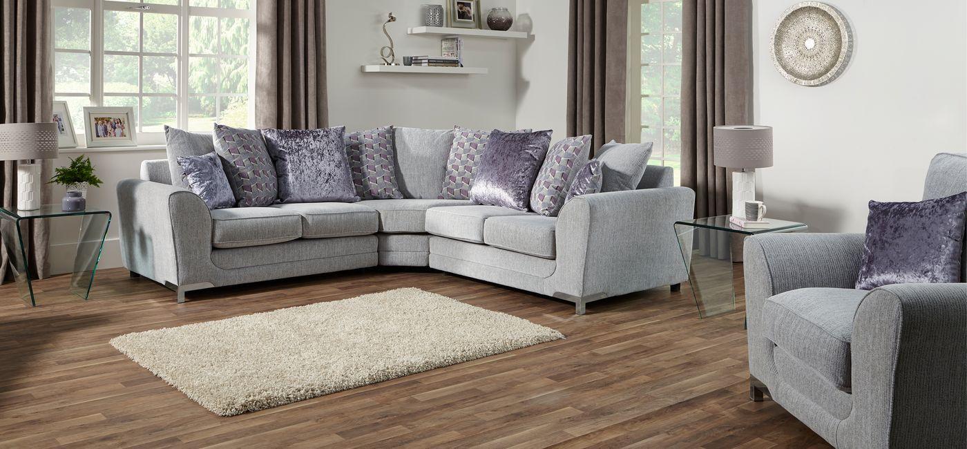 Leather Sectional Sofa Astrid Corner Scatter Back