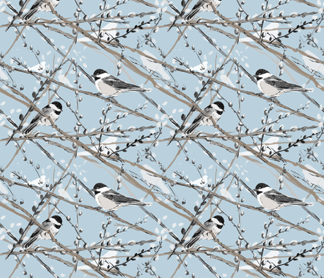 Fabric... chickadees sitting on pussywillow branches with a clear blue background.