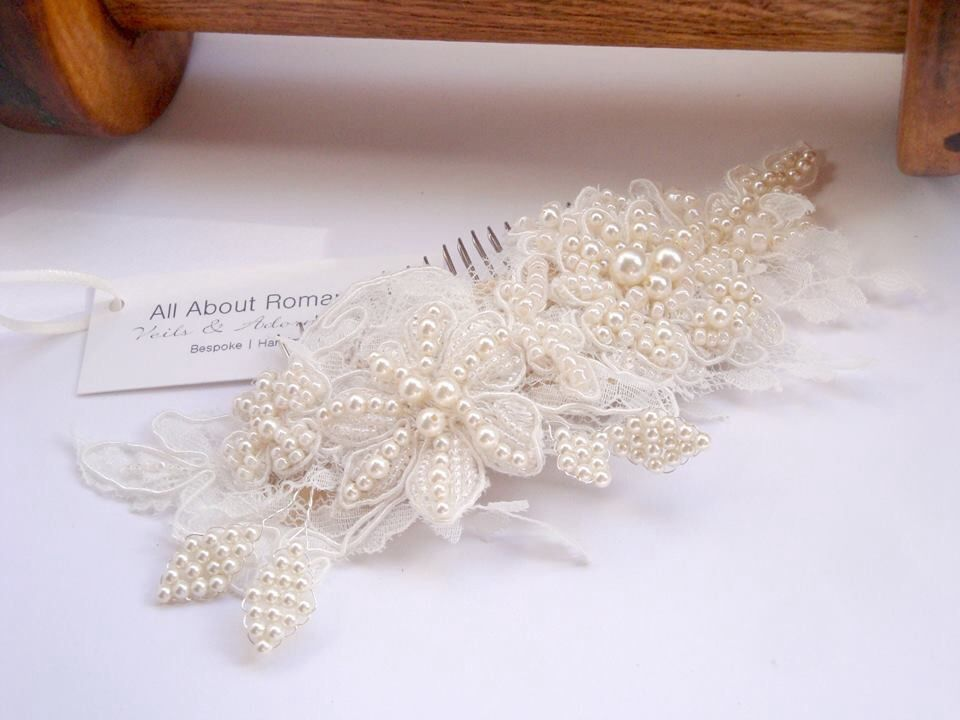 Bespoke #headpiece | French lace hand beaded and hand wired