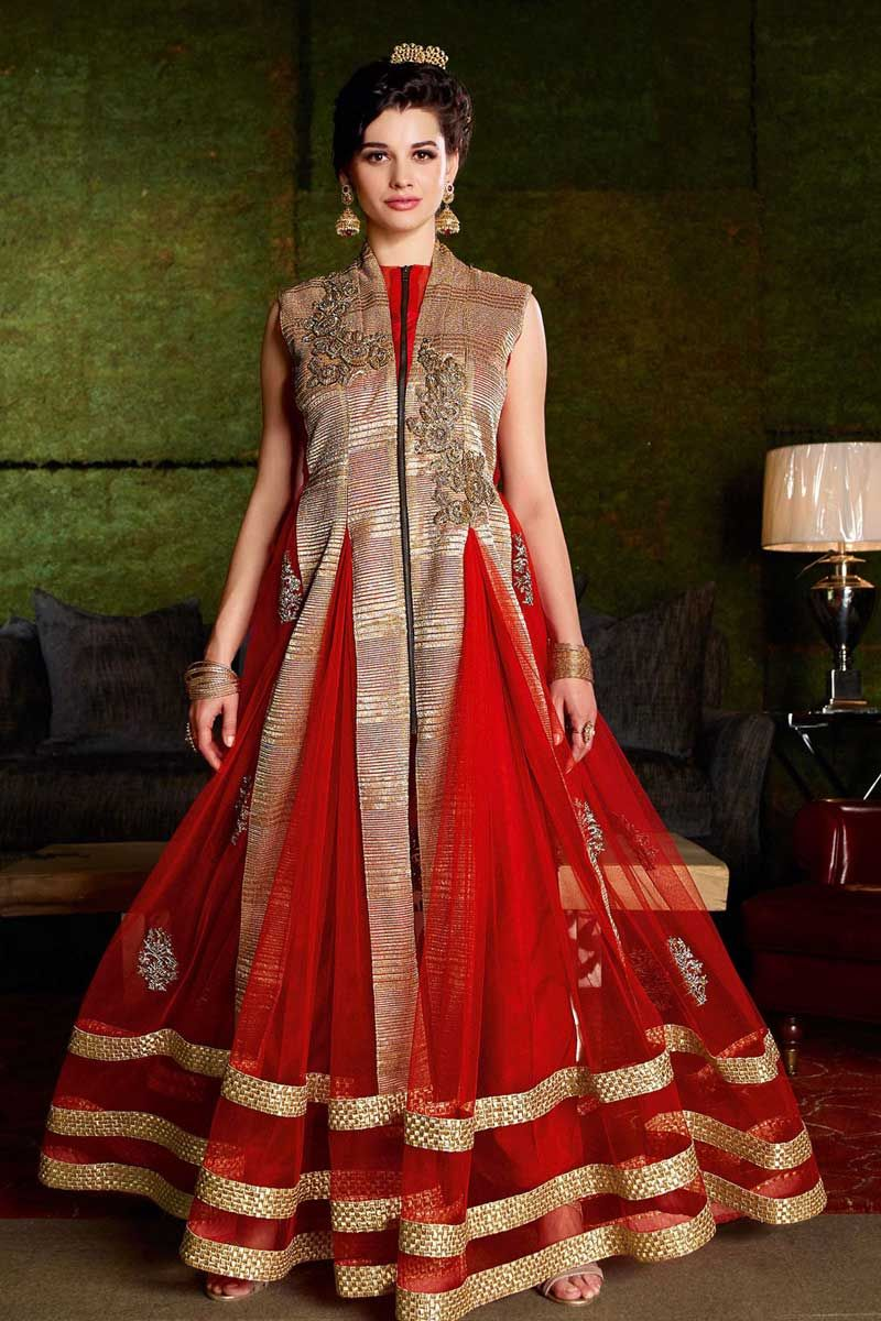 Red heavy bridal anarkali frock 7 suitanarkali in - Andaaz Fashion New Arrival Semi Stitch Red Net Anarkali Suit With Red Dupatta Embellishe
