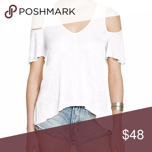 617b6a025cf092 🆕Free People Cold-Shoulder Hi-Low Hem Top This linen blend, relaxed ...