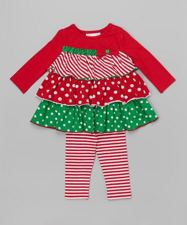 cc50aa4f607 Look at this  zulilyfind! Red   Green Tiered Dress   Leggings ...