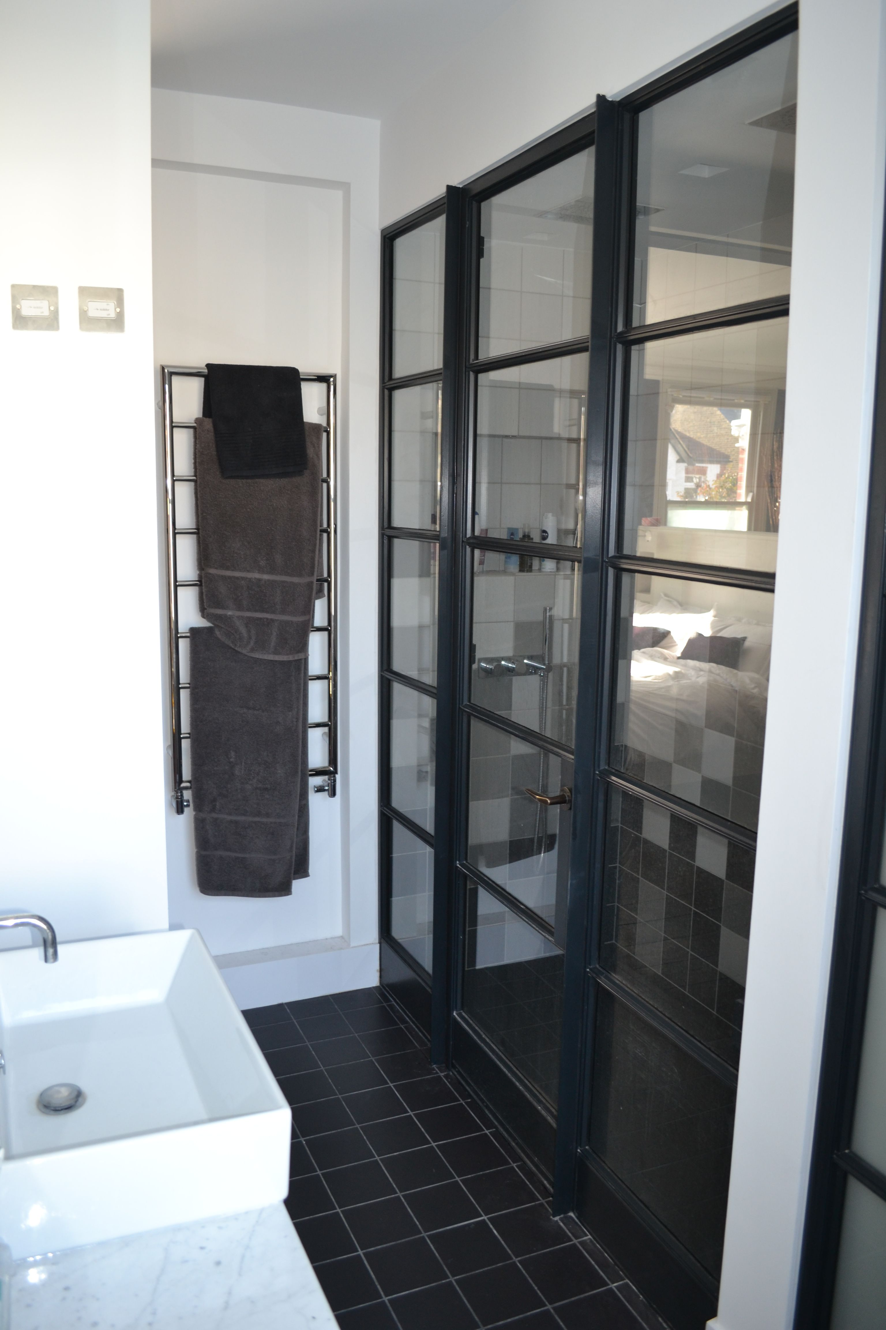 Crittall door beautifully supplied & fitted as a shower screen by