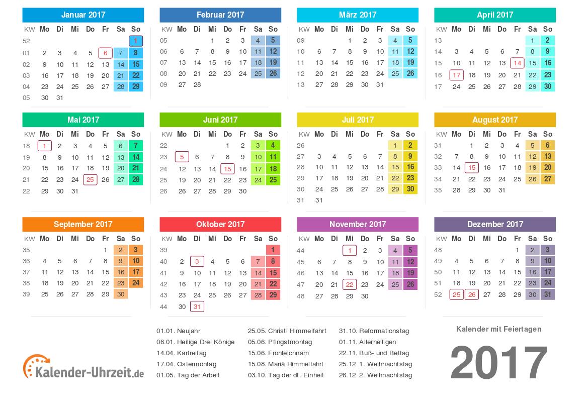 Kalender 2017 mit Feiertagen zum Ausdrucken - PDF-Vorlage 2 #KalUhr ...
