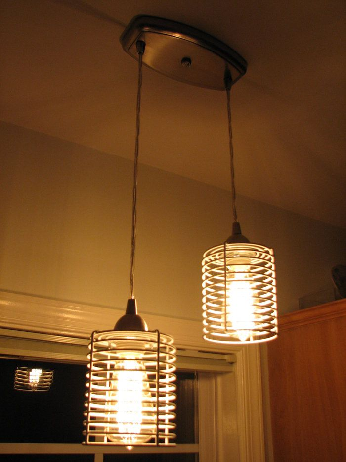 Ikea bathroom metal baskets spray paint pendant light fixture and
