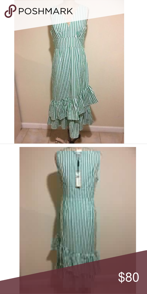 590ca66b69dfe NEW Anthropologie Tracy Reese Assateague Striped NEW Anthropologie Tracy  Reese Assateague Striped Dress Green White NWT Size 6 Anthropologie Dresses