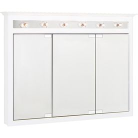 Lowes Medicine Cabinets With Lights Adorable Project Source 495In X 36In White Lighted Maple Surface Mount Decorating Design