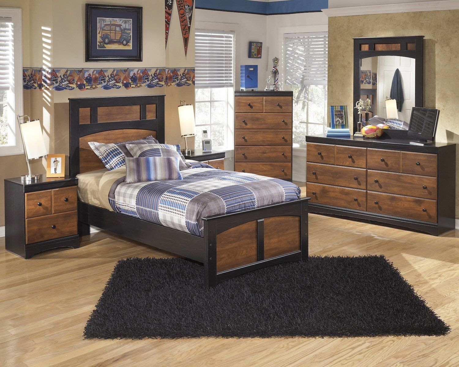 Ashley Aimwell 5pc Twin Panel Bedroom Set With Chest In Dark Brown Check This Awesome Produ Bedroom Furniture Ashley Bedroom Furniture Sets Twin Bedroom Sets