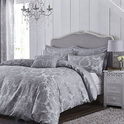 Catherine Lansfield Damask Jacquard Silver Grey Luxury Duvet Cover
