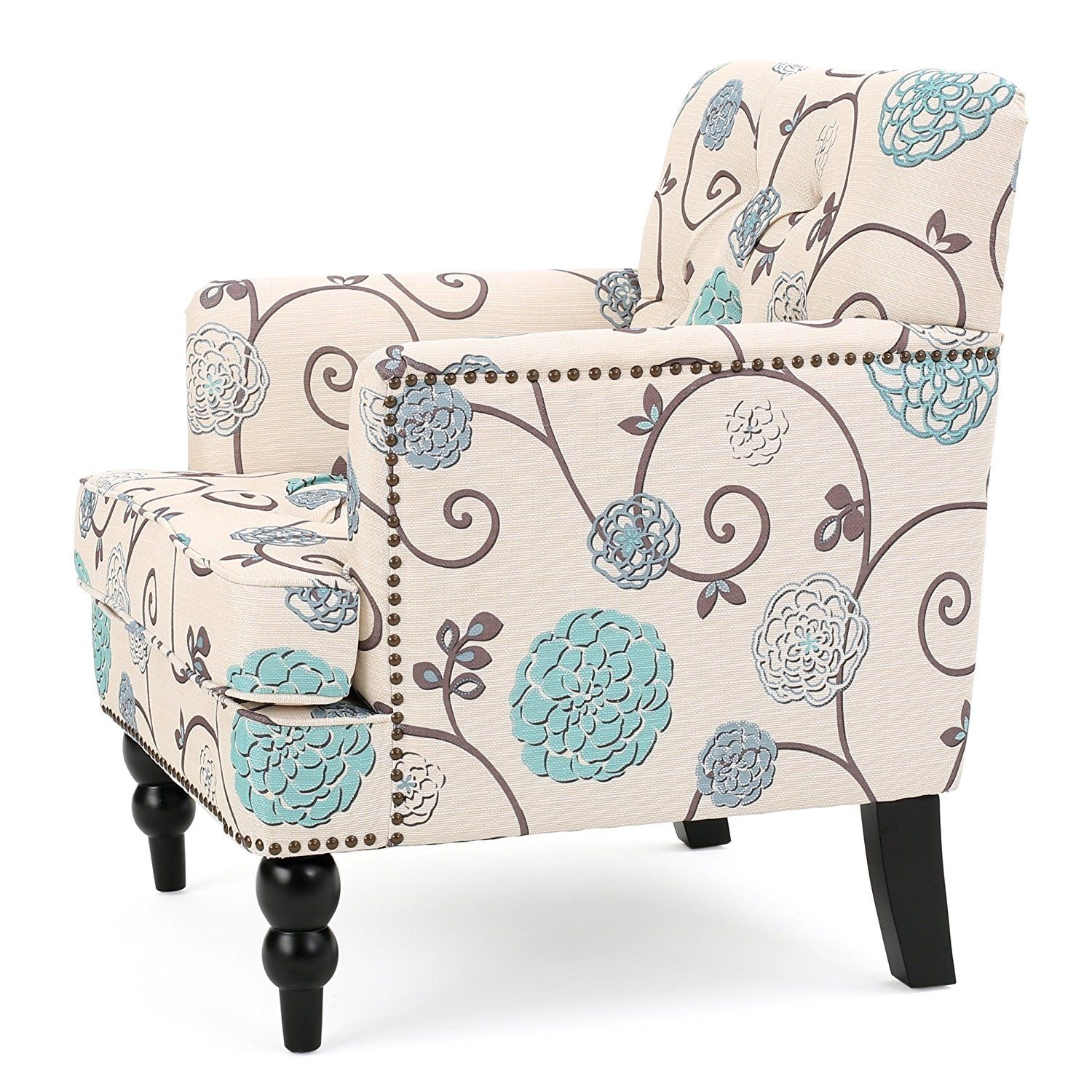 Medford Fabric Club Chair W/ Nailhead Accents (White And Blue Floral),  Accent